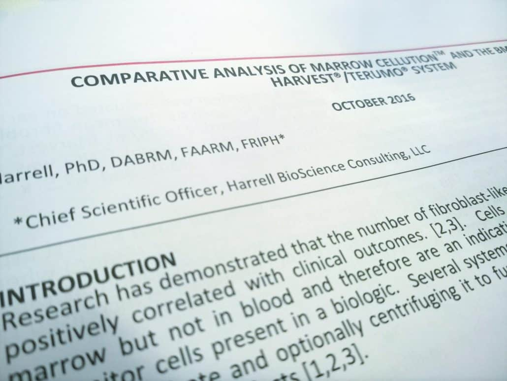 harrell: comparison marrow cellution vs harvest bmac